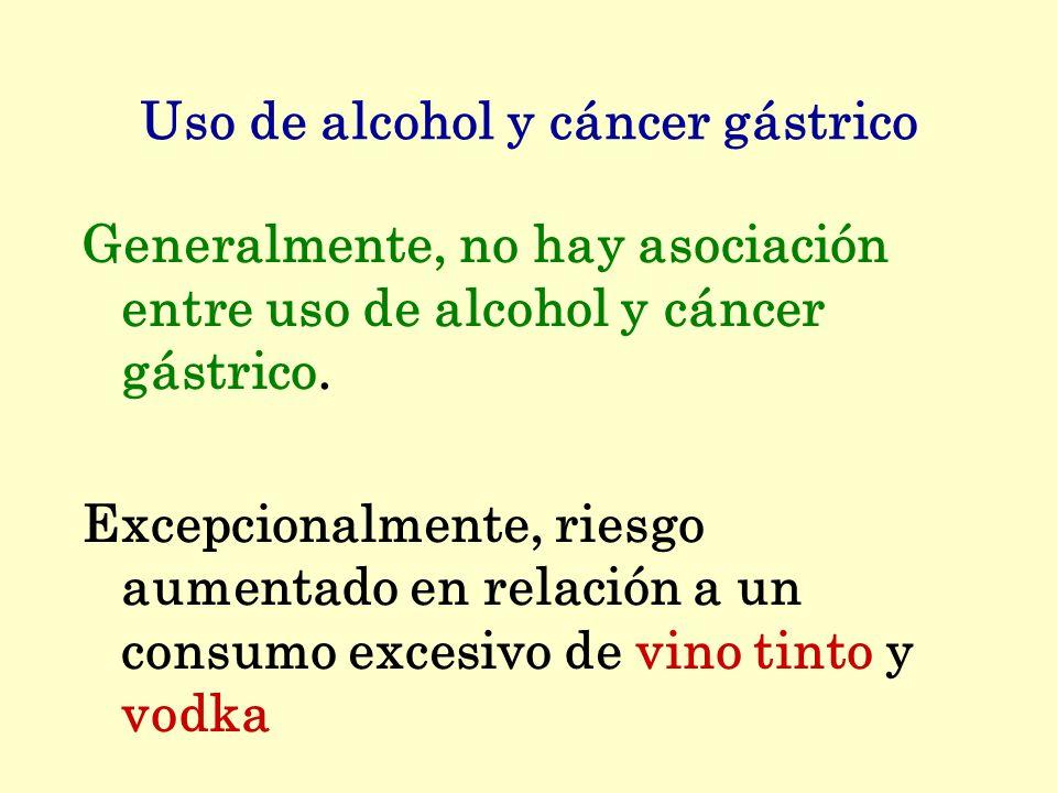 Uso de alcohol y cáncer gástrico Generalmente, no hay asociación entre uso de alcohol y cáncer gástrico. Excepcionalmente, riesgo aumentado en relació