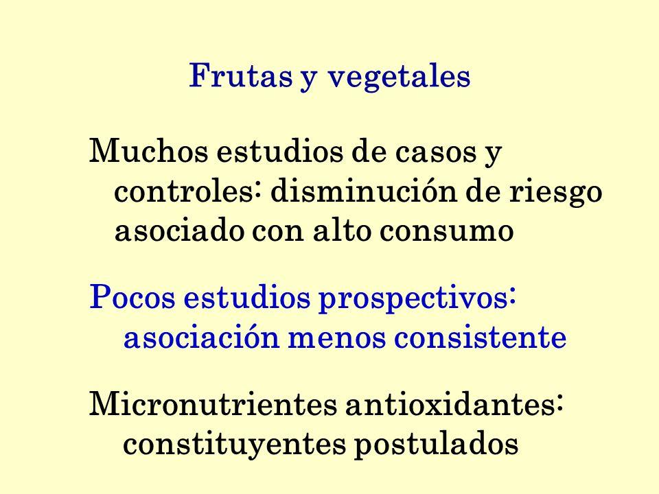 Frutas y vegetales Muchos estudios de casos y controles: disminución de riesgo asociado con alto consumo Pocos estudios prospectivos: asociación menos