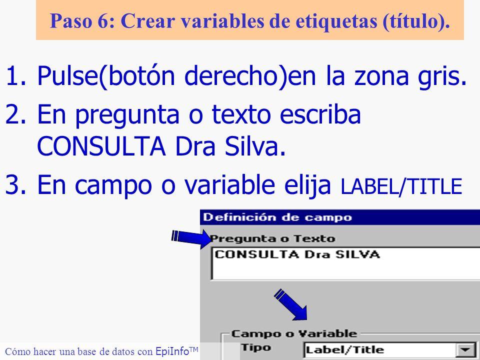 13 Cómo hacer una base de datos con EpiInfo TM Paso 6: Crear variables de etiquetas (título). 1.Pulse(botón derecho)en la zona gris. 2.En pregunta o t
