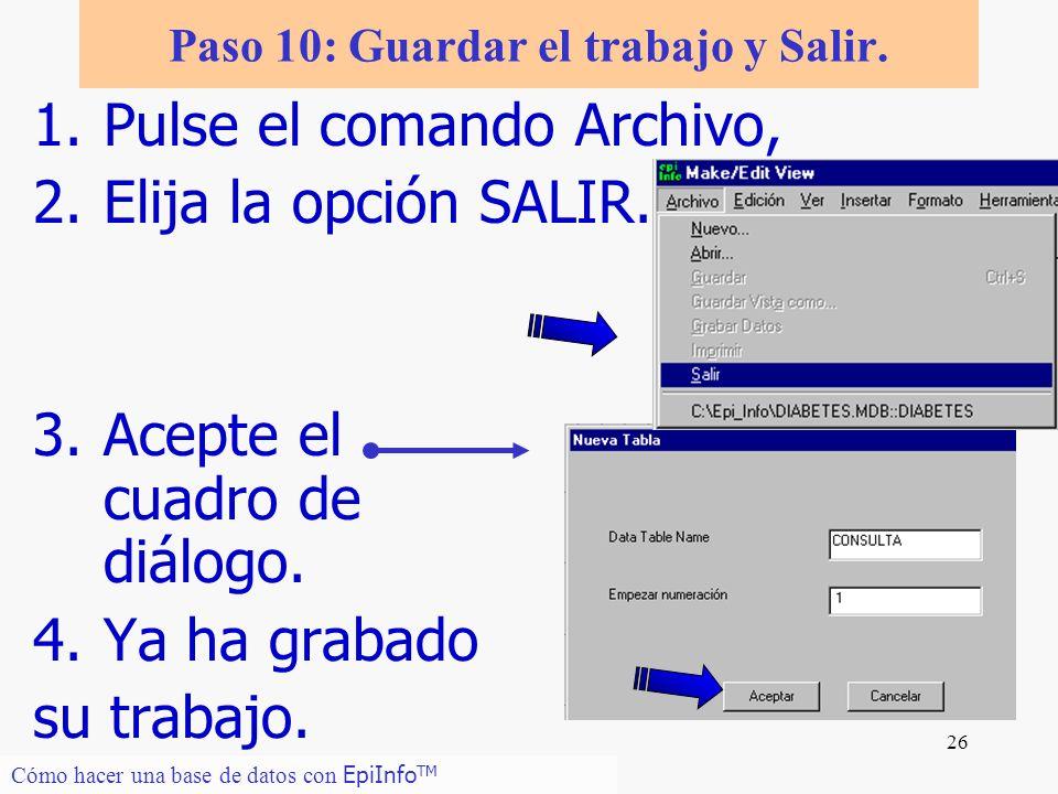 26 Paso 10: Guardar el trabajo y Salir. 1.Pulse el comando Archivo, 2.Elija la opción SALIR. 3.Acepte el cuadro de diálogo. 4.Ya ha grabado su trabajo