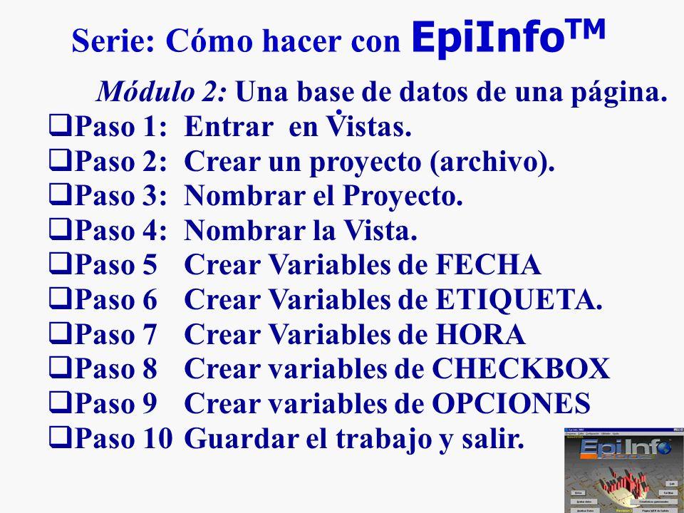 5 Serie: Cómo hacer con EpiInfo TM. Módulo 2: Una base de datos de una página. Paso 1: Entrar en Vistas. Paso 2: Crear un proyecto (archivo). Paso 3: