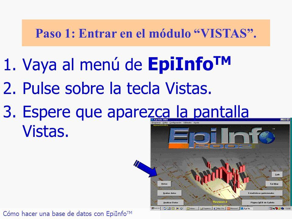 7 1.Vaya al menú de EpiInfo TM 2.Pulse sobre la tecla Vistas. 3.Espere que aparezca la pantalla Vistas. Cómo hacer una base de datos con EpiInfo TM Pa