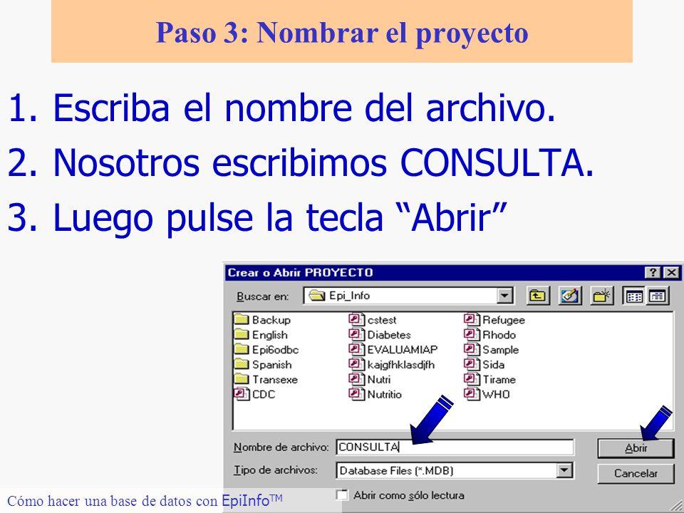 9 Paso 3: Nombrar el proyecto 1.Escriba el nombre del archivo. 2.Nosotros escribimos CONSULTA. 3.Luego pulse la tecla Abrir Cómo hacer una base de dat