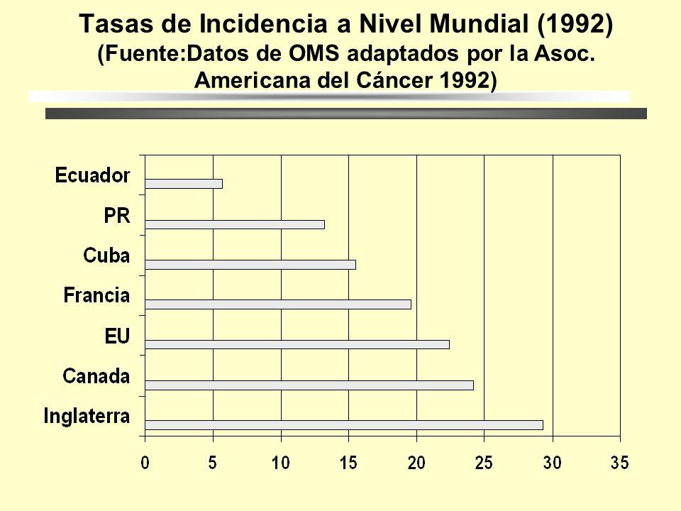 Tasas de Incidencia por Edad para PR (1991) (Fuente:Cáncer en PR 1991 Reg.Central de Cáncer, Dpt. De Salud)