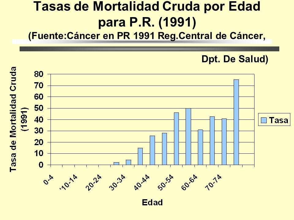 Tasas de Mortalidad Ajustadas por Edad para P.R. (1991) (Fuente:Cáncer en PR 1991 Reg.Central de Cáncer, Dpt. De Salud)