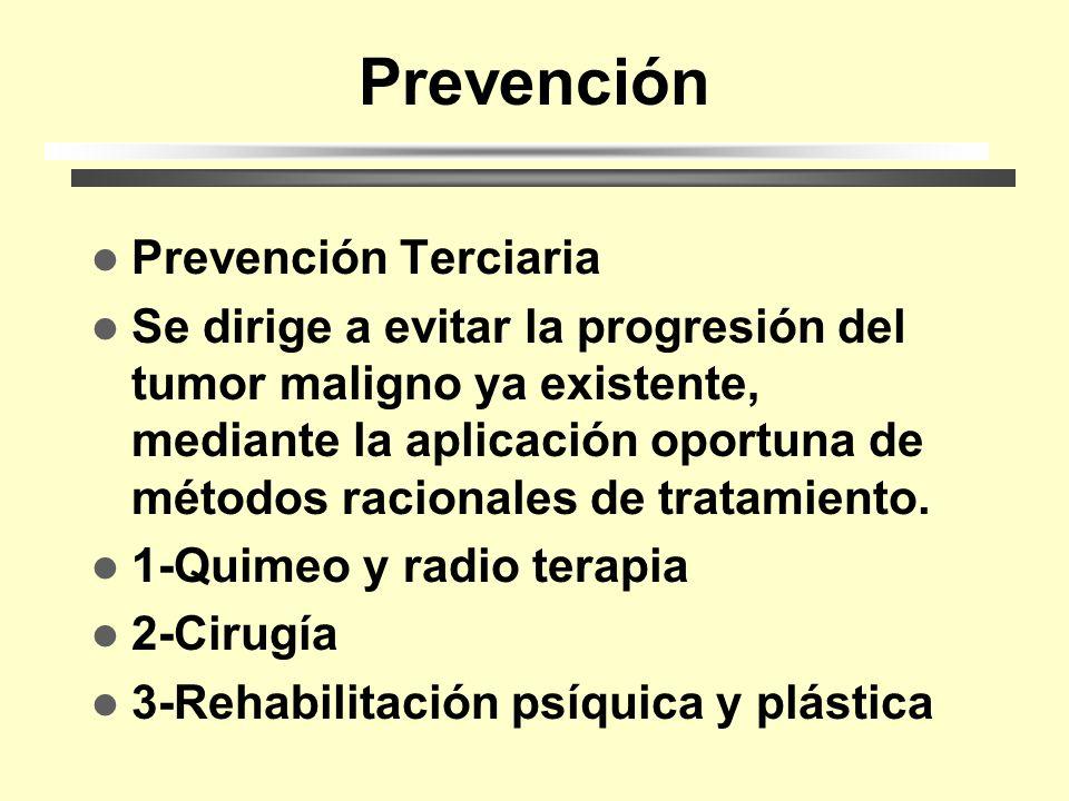 Prevención Prevención Secundaria Se dirige al diagnóstico óptimo y al tratamiento adecuado. 1-Autoexamen 2-Examen fíisico 3-Mamografía