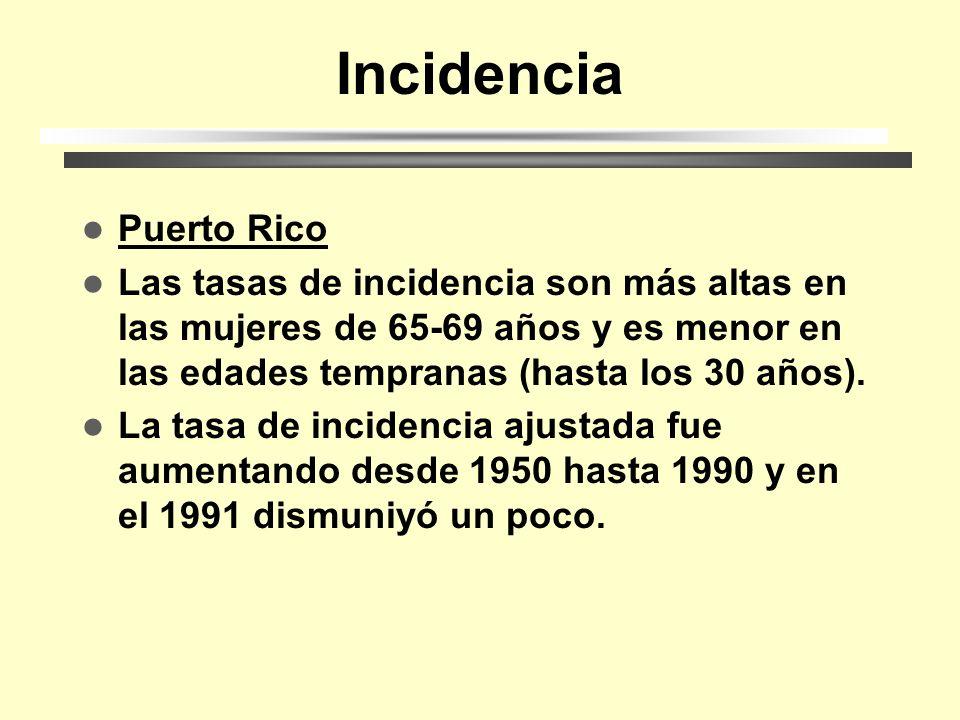Incidencia Puerto Rico Las tasas de incidencia son más altas en las mujeres de 65-69 años y es menor en las edades tempranas (hasta los 30 años).