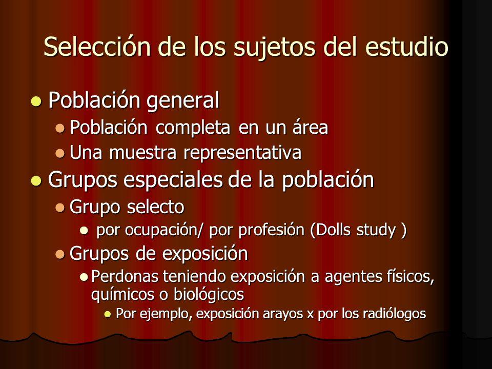Selección de los sujetos del estudio Población general Población general Población completa en un área Población completa en un área Una muestra repre