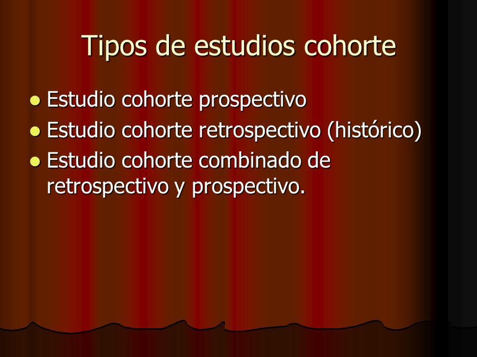 Tipos de estudios cohorte Estudio cohorte prospectivo Estudio cohorte prospectivo Estudio cohorte retrospectivo (histórico) Estudio cohorte retrospect