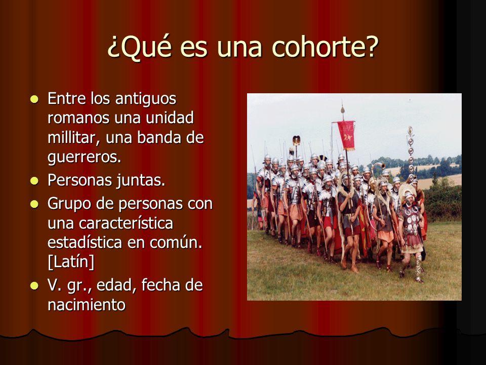 ¿Qué es una cohorte? Entre los antiguos romanos una unidad millitar, una banda de guerreros. Entre los antiguos romanos una unidad millitar, una banda