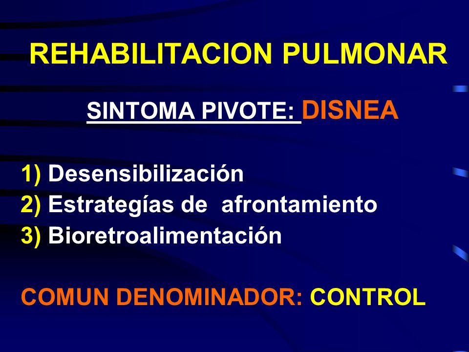 REHABILITACION PULMONAR SINTOMA PIVOTE: DISNEA 1)Desensibilización 2)Estrategías de afrontamiento 3)Bioretroalimentación COMUN DENOMINADOR: CONTROL