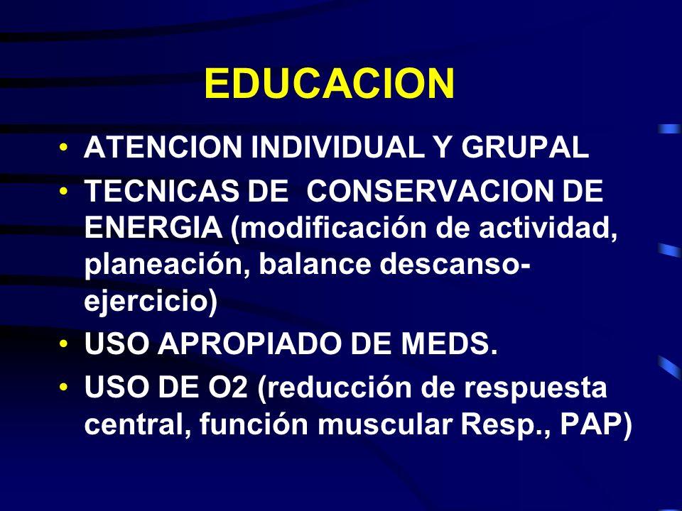 EDUCACION ATENCION INDIVIDUAL Y GRUPAL TECNICAS DE CONSERVACION DE ENERGIA (modificación de actividad, planeación, balance descanso- ejercicio) USO AP