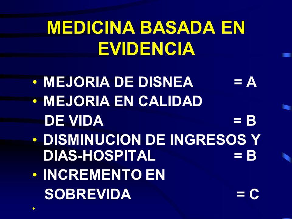 MEDICINA BASADA EN EVIDENCIA MEJORIA DE DISNEA = A MEJORIA EN CALIDAD DE VIDA = B DISMINUCION DE INGRESOS Y DIAS-HOSPITAL = B INCREMENTO EN SOBREVIDA