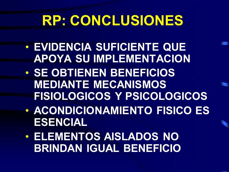 RP: CONCLUSIONES EVIDENCIA SUFICIENTE QUE APOYA SU IMPLEMENTACION SE OBTIENEN BENEFICIOS MEDIANTE MECANISMOS FISIOLOGICOS Y PSICOLOGICOS ACONDICIONAMI