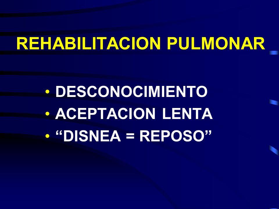 REHABILITACION PULMONAR DESCONOCIMIENTO ACEPTACION LENTA DISNEA = REPOSO