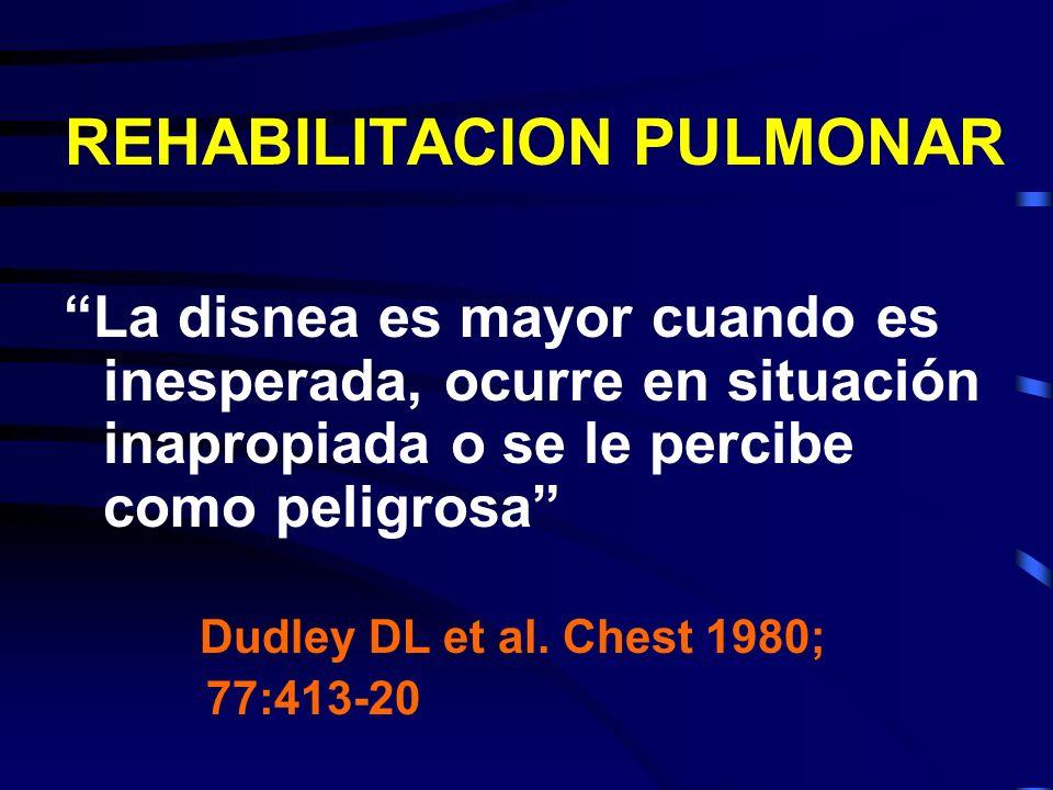 REHABILITACION PULMONAR La disnea es mayor cuando es inesperada, ocurre en situación inapropiada o se le percibe como peligrosa Dudley DL et al. Chest