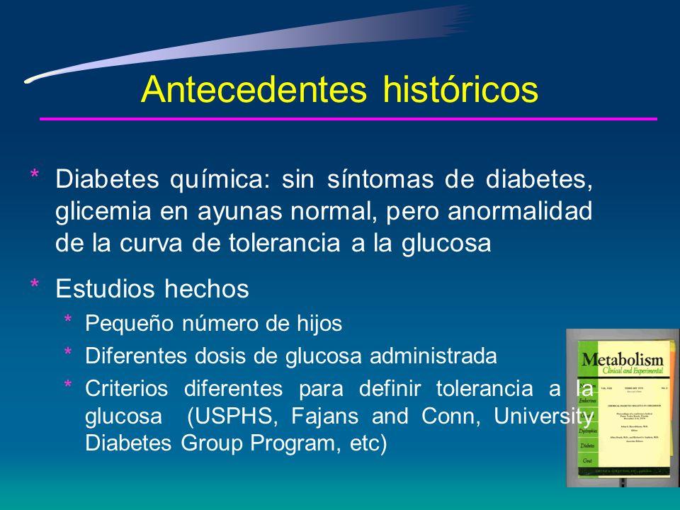 Antecedentes históricos Fin de los 70s * Tipos de diabetes divididos en: ataque juvenil y ataque en la madurez * Enorme variación en los puntos de corte para glicemia en ayunas y después de ingesta de glucosa * El tamaño de la carga de glucosa varió entre 50 g y 100 g o relacionada al peso corporal
