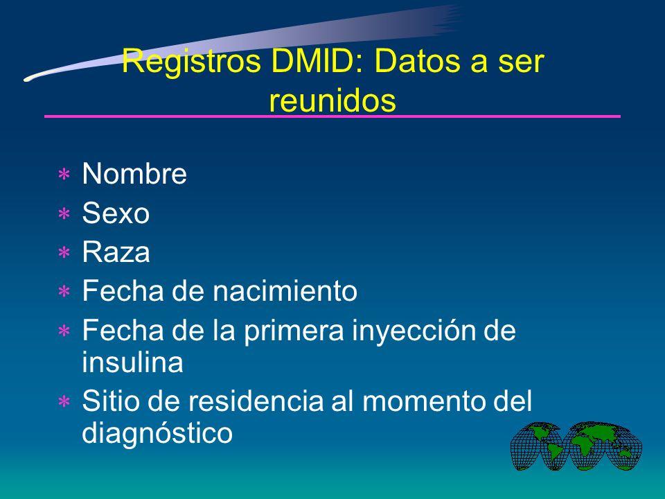 Registros DMID: Criterios de elegibilidad Diagnóstico de DMID por un médico Insulina al momento del alta del hospital Edad de ataque entre 0-14 años Residente en un área definida al diagnóstico Diabetes no secundaria a otras condiciones