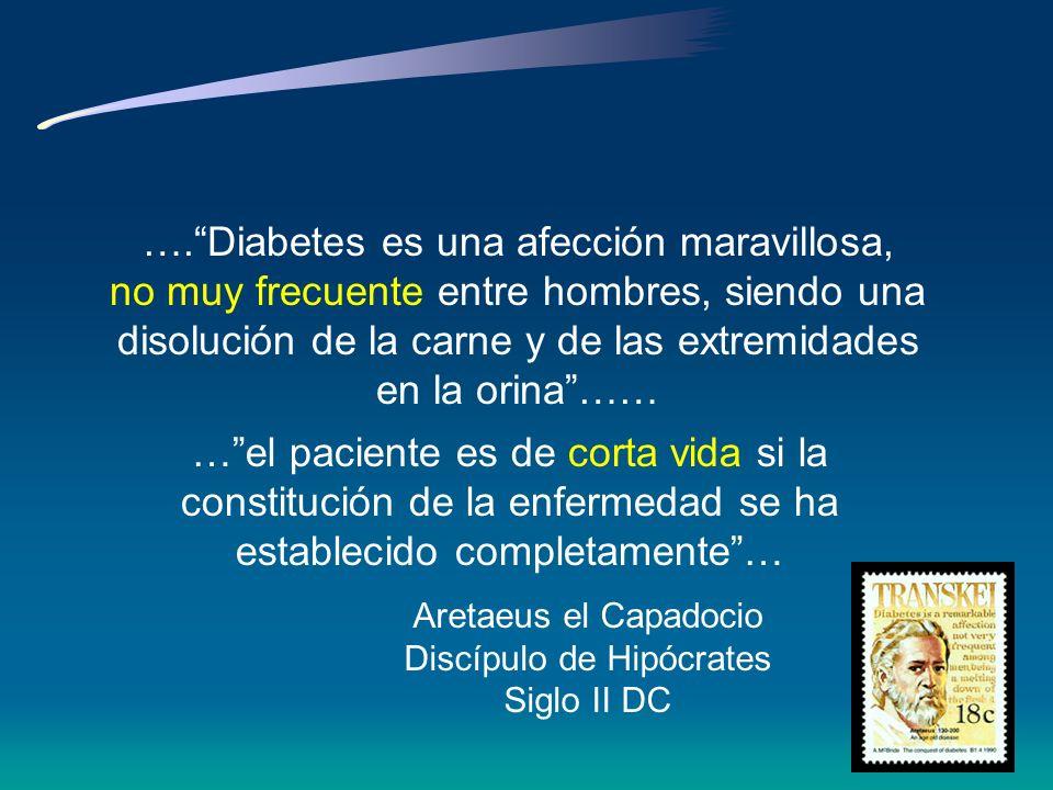 Contando la diabetes … Galeno, discípulo de Hipócrates Siglo II DC … diarrea de la orina ….. la enfermedad del sediento… … rara ….… sólo dos casos …..