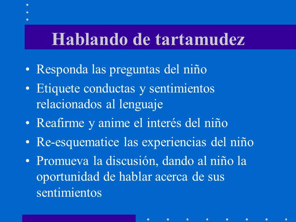 Hablando de tartamudez Responda las preguntas del niño Etiquete conductas y sentimientos relacionados al lenguaje Reafirme y anime el interés del niño