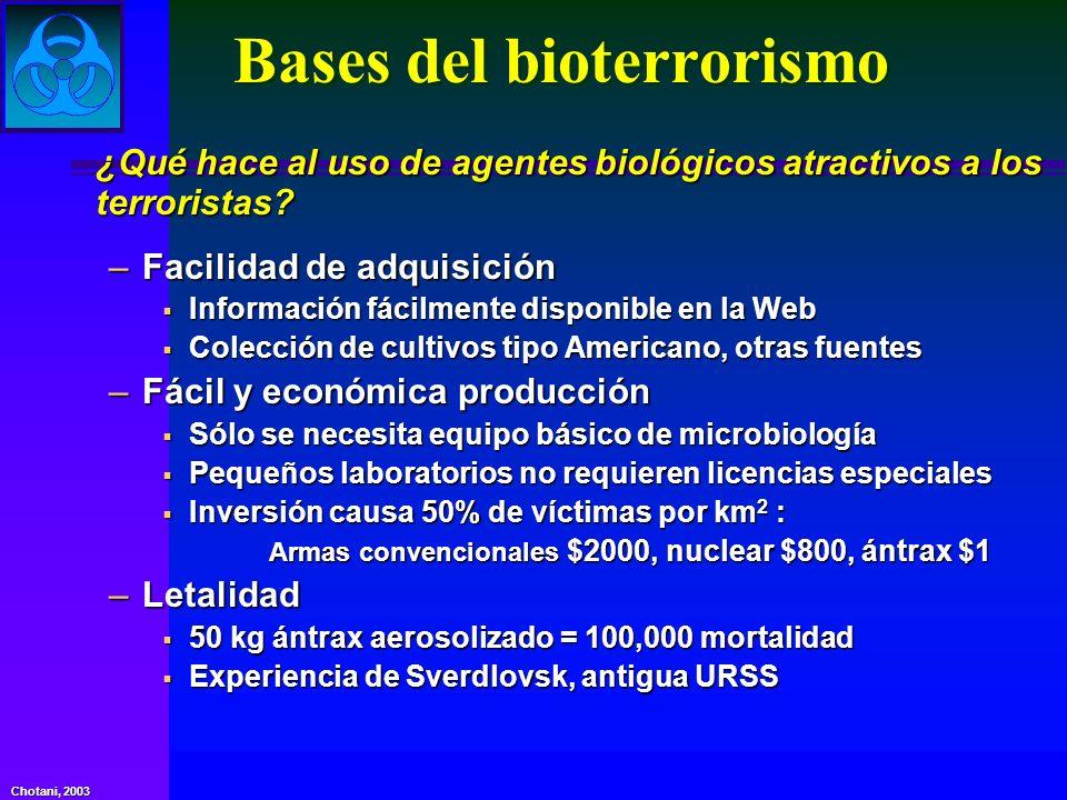 Chotani, 2003 Bases del bioterrorismo ¿Qué hace al uso de agentes biológicos atractivos a los terroristas? –Facilidad de adquisición Información fácil