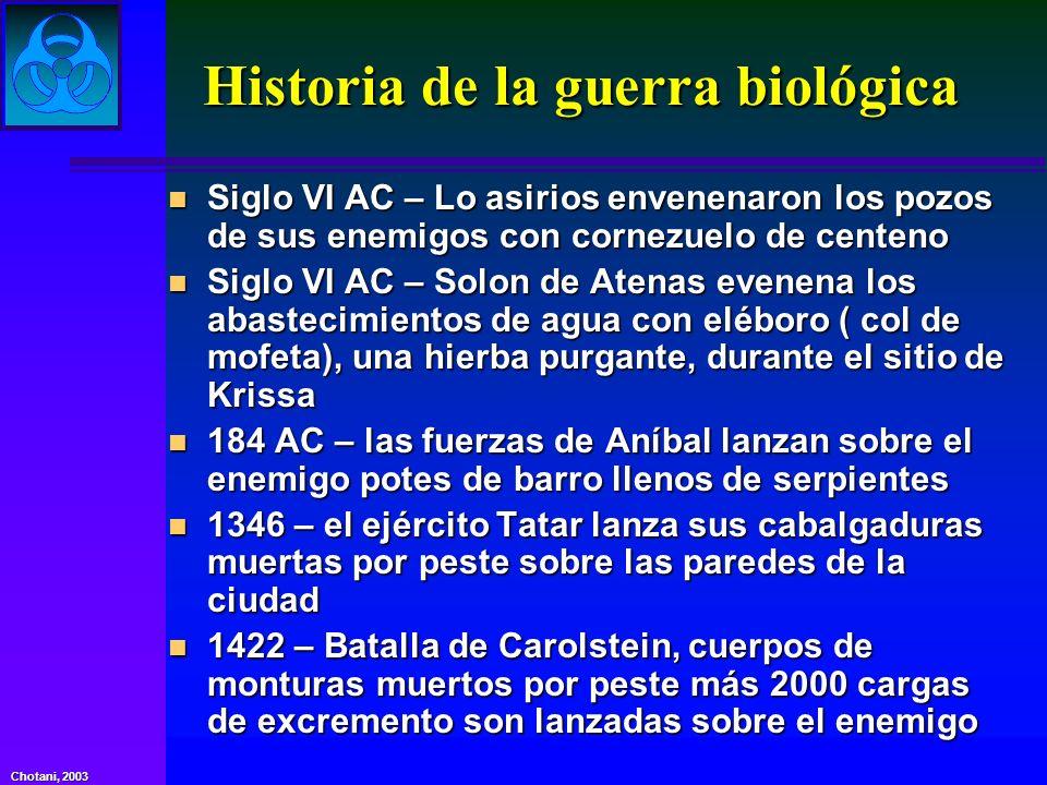 Chotani, 2003 Historia de la guerra biológica n Siglo VI AC – Lo asirios envenenaron los pozos de sus enemigos con cornezuelo de centeno n Siglo VI AC
