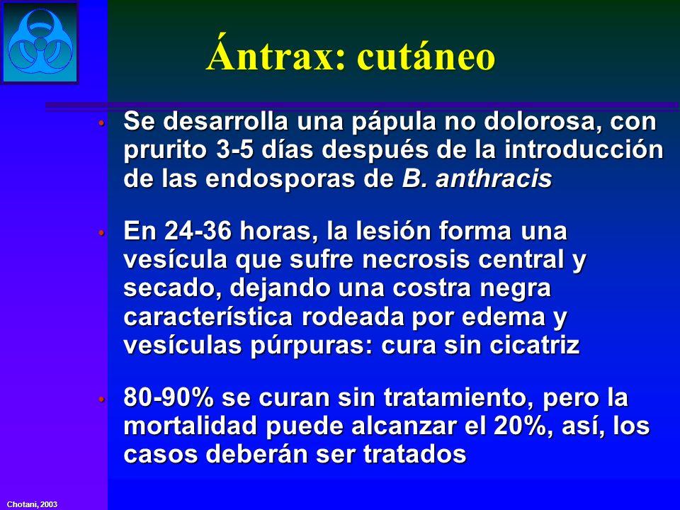 Chotani, 2003 Ántrax: cutáneo Se desarrolla una pápula no dolorosa, con prurito 3-5 días después de la introducción de las endosporas de B. anthracis