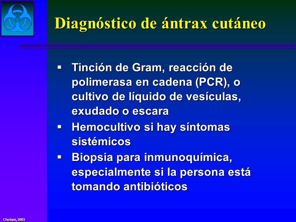 Chotani, 2003 Diagnóstico de ántrax cutáneo Tinción de Gram, reacción de polimerasa en cadena (PCR), o cultivo de líquido de vesículas, exudado o esca