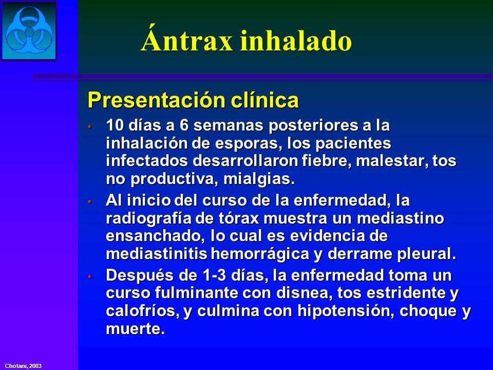 Ántrax inhalado Presentación clínica 10 días a 6 semanas posteriores a la inhalación de esporas, los pacientes infectados desarrollaron fiebre, malest