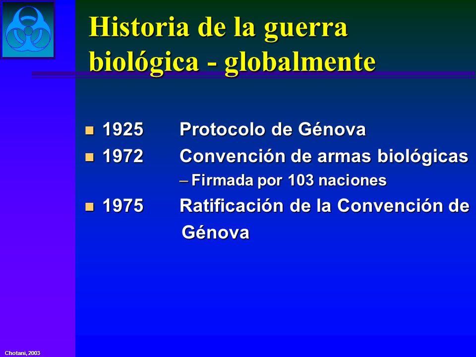 Chotani, 2003 Agentes de bioterrorismo Toxinas biológicas Toxina botulínica Enterotoxina B estafilocócica Ricina Micotoxinas (T2)
