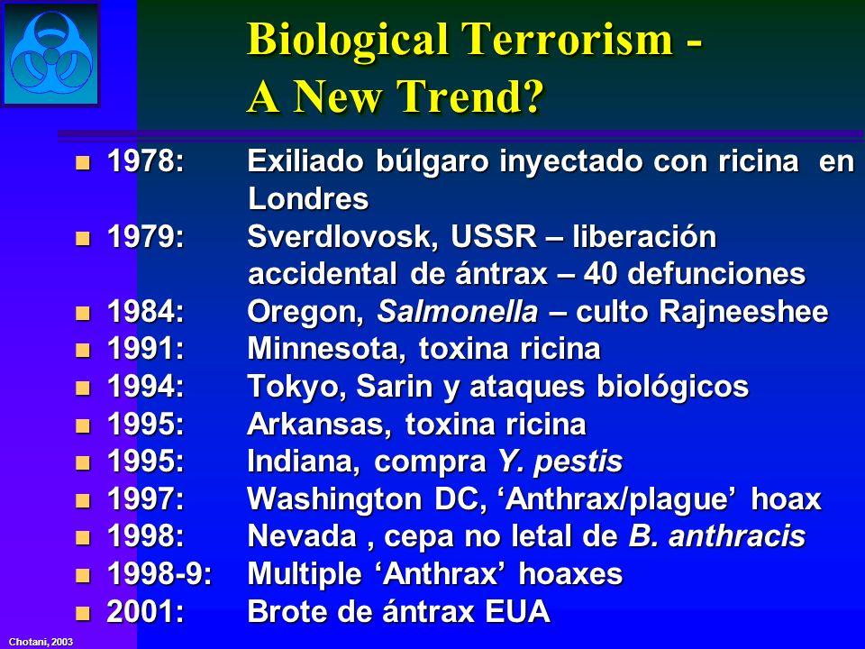 Chotani, 2003 Bases de bioterrorismo Definición: el uso ilegal o amenaza de uso, de microorganismos o toxinas derivados de los organismos vivos para producir la muerte o enfermedad en humanos, animales o plantas.