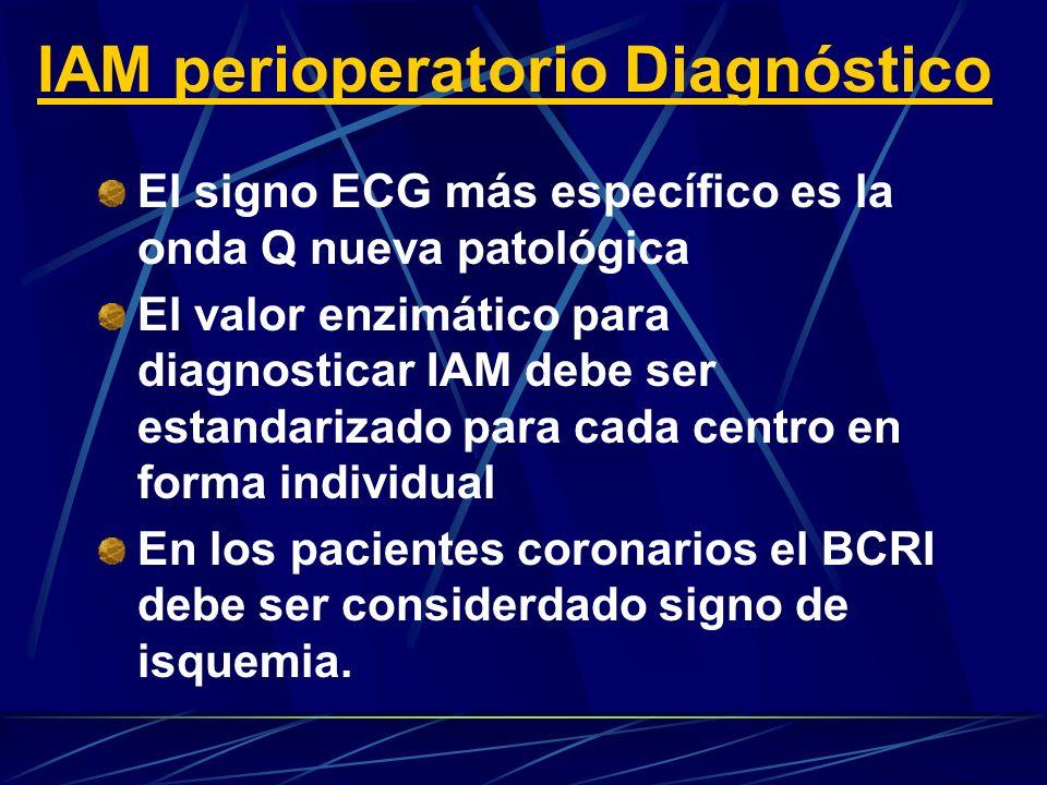 El signo ECG más específico es la onda Q nueva patológica El valor enzimático para diagnosticar IAM debe ser estandarizado para cada centro en forma individual En los pacientes coronarios el BCRI debe ser considerdado signo de isquemia.