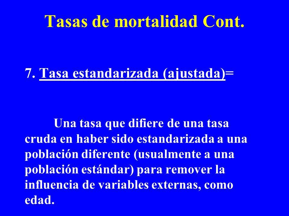 Tasas de mortalidad Cont. 7. Tasa estandarizada (ajustada)= Una tasa que difiere de una tasa cruda en haber sido estandarizada a una población diferen
