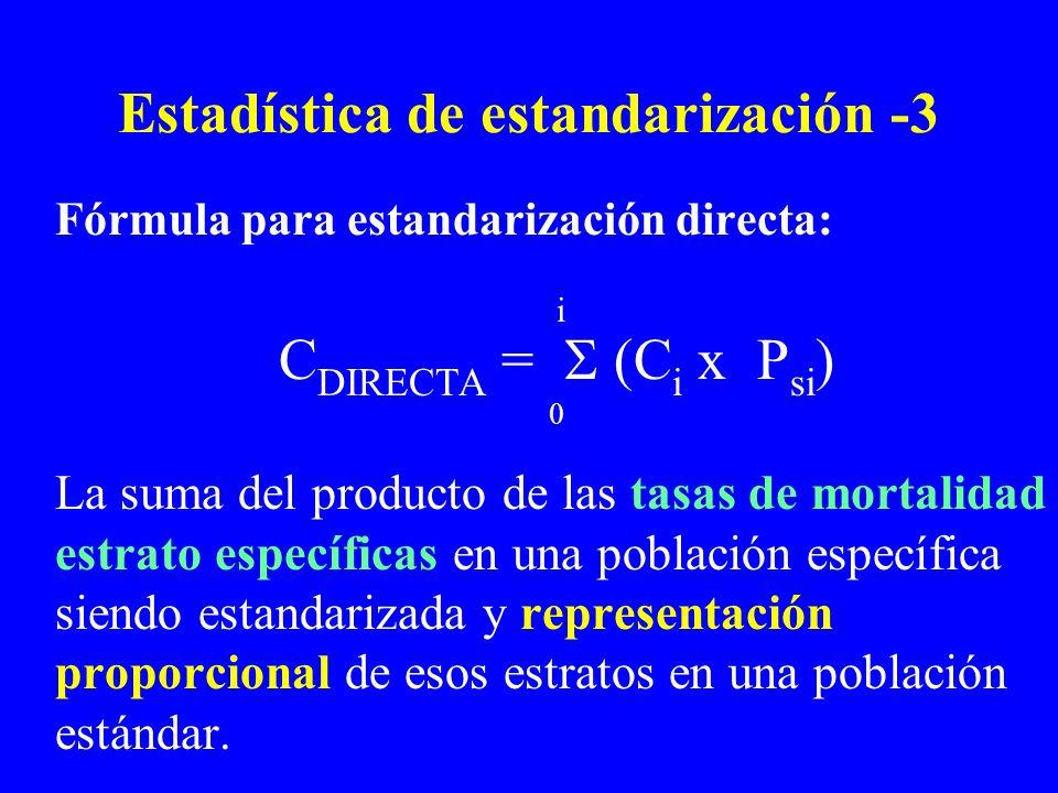 Estadística de estandarización -3 Fórmula para estandarización directa: i C DIRECTA = (C i x P si ) 0 La suma del producto de las tasas de mortalidad