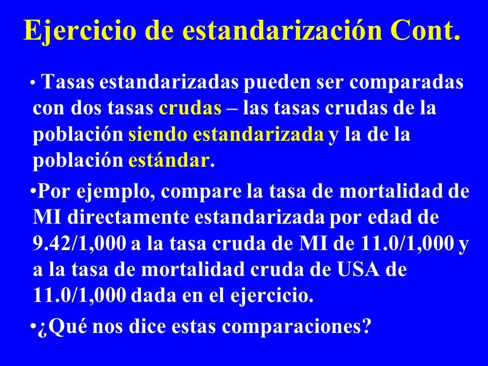 Ejercicio de estandarización Cont. Tasas estandarizadas pueden ser comparadas con dos tasas crudas – las tasas crudas de la población siendo estandari