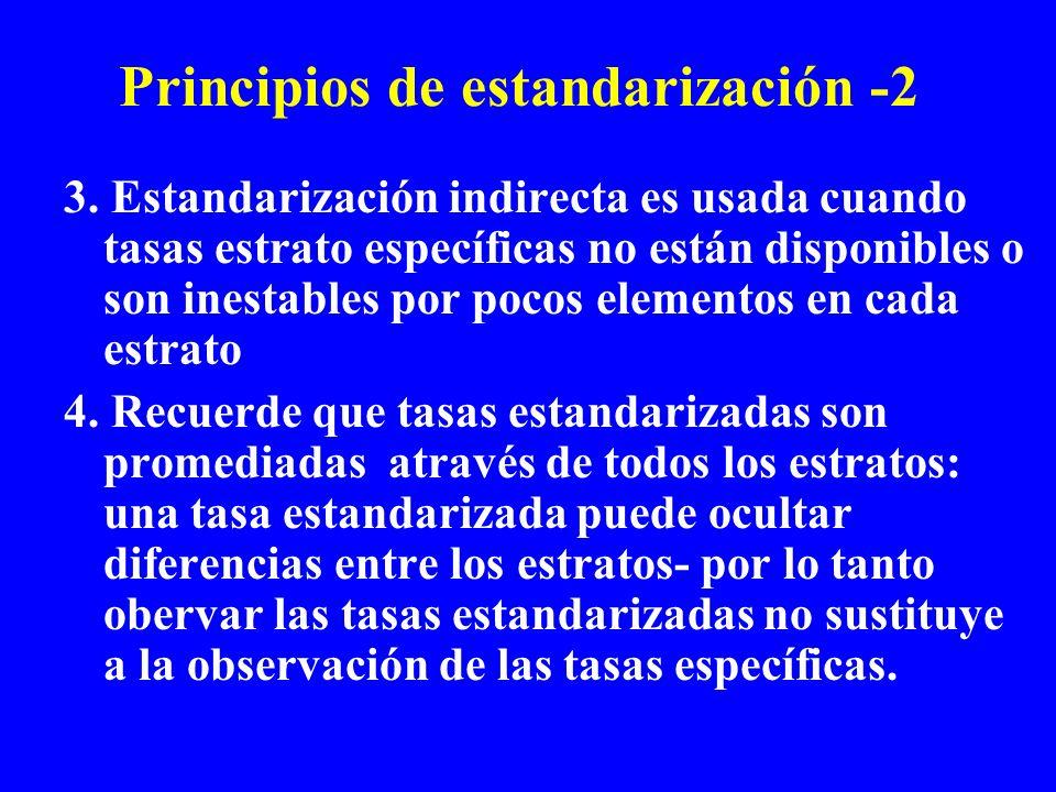 Principios de estandarización -2 3. Estandarización indirecta es usada cuando tasas estrato específicas no están disponibles o son inestables por poco