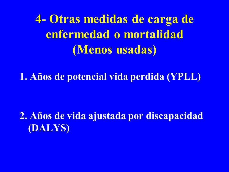 4- Otras medidas de carga de enfermedad o mortalidad (Menos usadas) 1. Años de potencial vida perdida (YPLL) 2. Años de vida ajustada por discapacidad