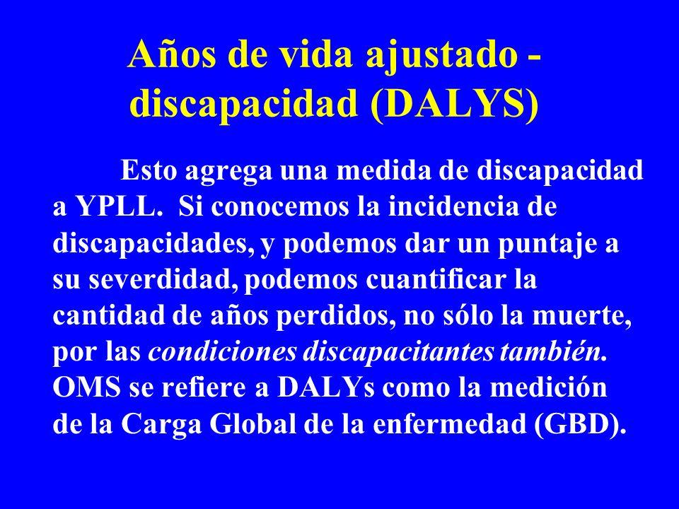 Años de vida ajustado - discapacidad (DALYS) Esto agrega una medida de discapacidad a YPLL. Si conocemos la incidencia de discapacidades, y podemos da