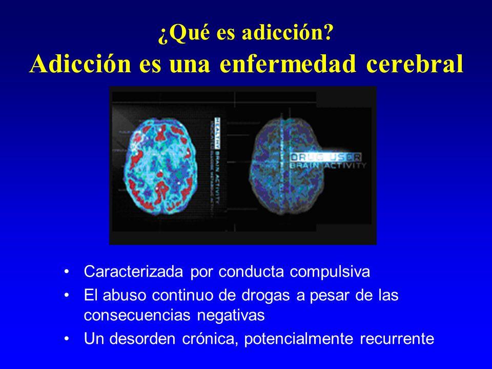 ¿Qué es adicción? Adicción es una enfermedad cerebral Caracterizada por conducta compulsiva El abuso continuo de drogas a pesar de las consecuencias n