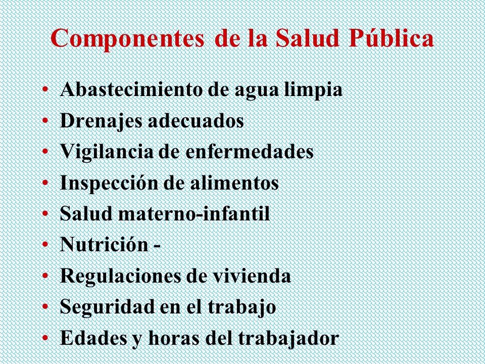 Componentes de la Salud Pública Abastecimiento de agua limpia Drenajes adecuados Vigilancia de enfermedades Inspección de alimentos Salud materno-infa