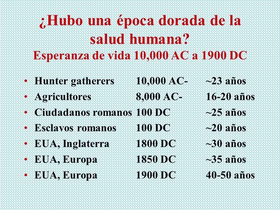 ¿Hubo una época dorada de la salud humana? Esperanza de vida 10,000 AC a 1900 DC Hunter gatherers10,000 AC-~23 años Agricultores8,000 AC-16-20 años Ci