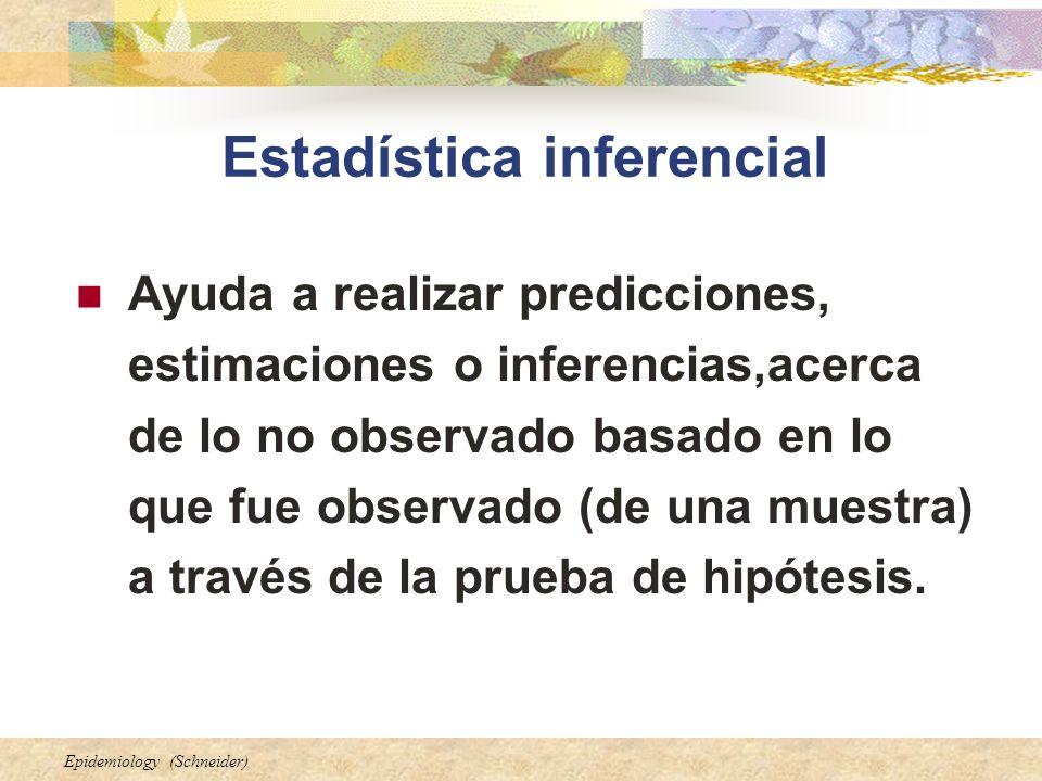 Epidemiology (Schneider) Estadística inferencial Ayuda a realizar predicciones, estimaciones o inferencias,acerca de lo no observado basado en lo que