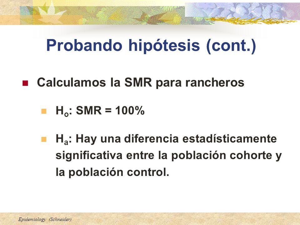 Epidemiology (Schneider) Probando hipótesis (cont.) Calculamos la SMR para rancheros H o : SMR = 100% H a : Hay una diferencia estadísticamente signif