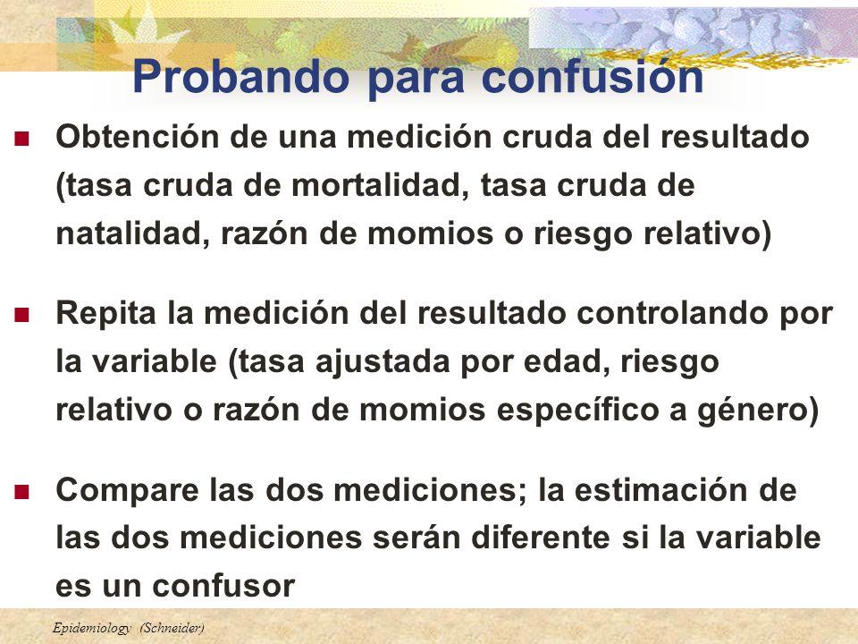 Epidemiology (Schneider) Probando para confusión Obtención de una medición cruda del resultado (tasa cruda de mortalidad, tasa cruda de natalidad, raz