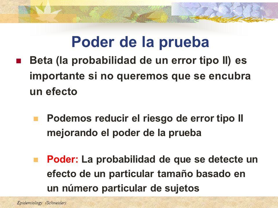 Epidemiology (Schneider) Poder de la prueba Beta (la probabilidad de un error tipo II) es importante si no queremos que se encubra un efecto Podemos reducir el riesgo de error tipo II mejorando el poder de la prueba Poder: La probabilidad de que se detecte un efecto de un particular tamaño basado en un número particular de sujetos