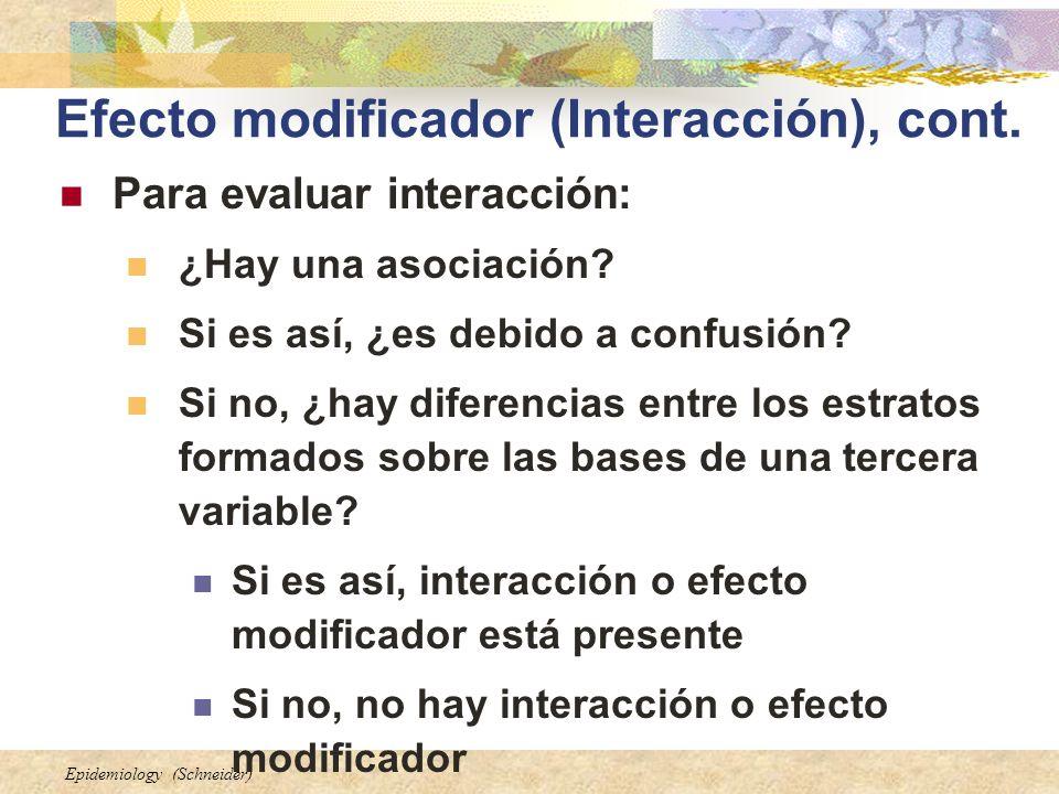 Epidemiology (Schneider) Efecto modificador (Interacción), cont. Para evaluar interacción: ¿Hay una asociación? Si es así, ¿es debido a confusión? Si