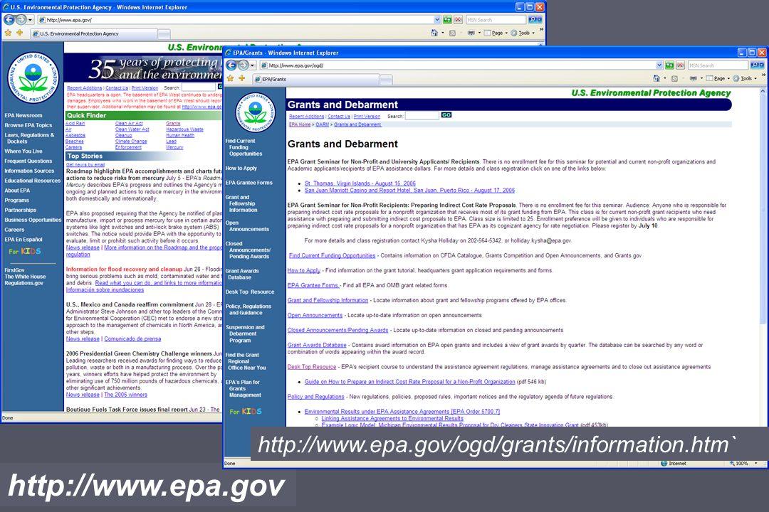 http://www.epa.gov http://www.epa.gov/ogd/grants/information.htm`