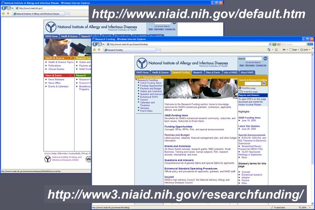 http://www.niaid.nih.gov/default.htm http://www3.niaid.nih.gov/researchfunding/