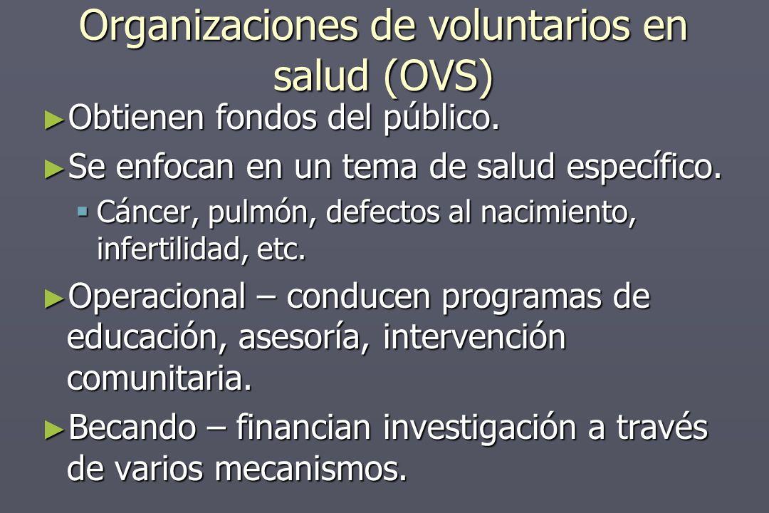 Organizaciones de voluntarios en salud (OVS) Obtienen fondos del público.