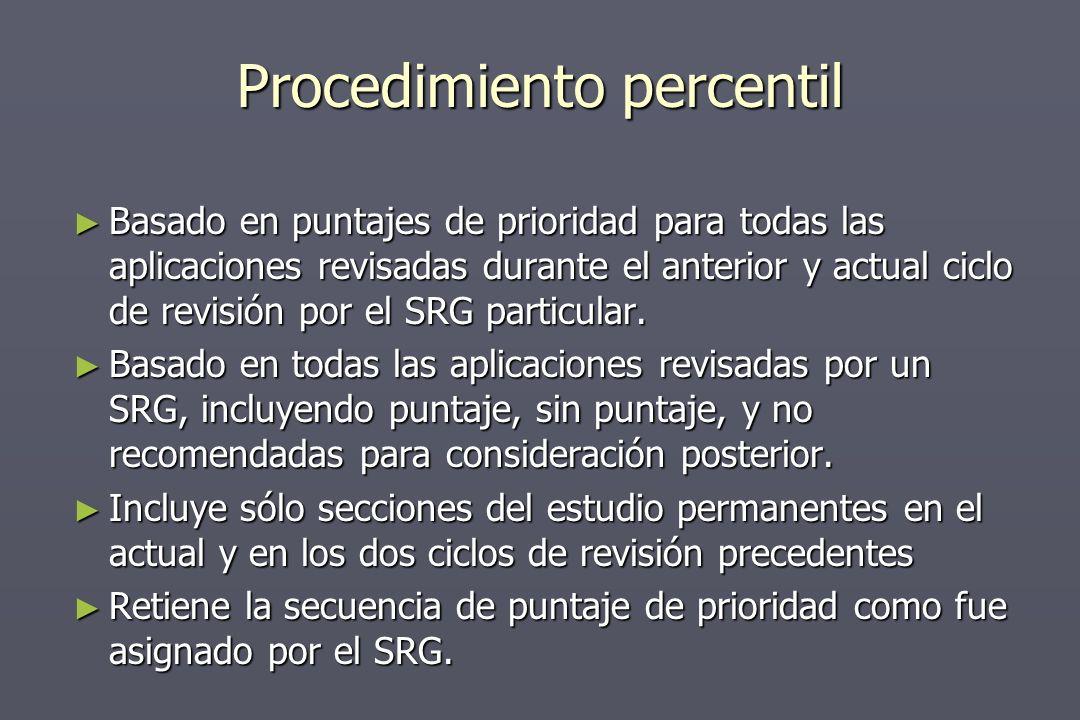 Procedimiento percentil Basado en puntajes de prioridad para todas las aplicaciones revisadas durante el anterior y actual ciclo de revisión por el SRG particular.